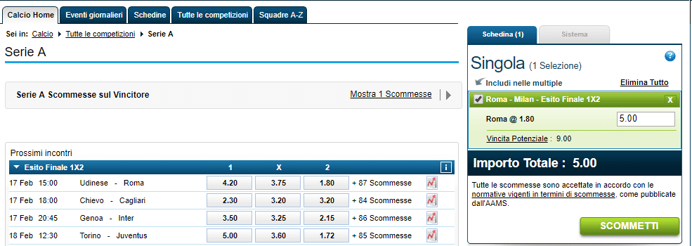 william hill scommessa singola