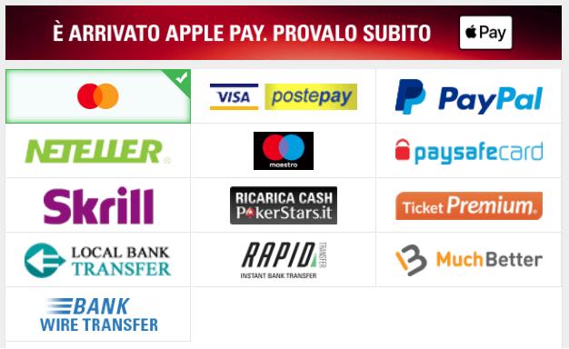 codice bonus skybet metodi pagamento